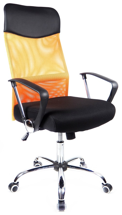 Kľúčové vlastnosti kancelárske stoličky Prezident oranžový  -prodyšné  operadlo vďaka potahovému materiálu MESH -kříž a podrúčky z kovu - chróm 8847eae4a4c