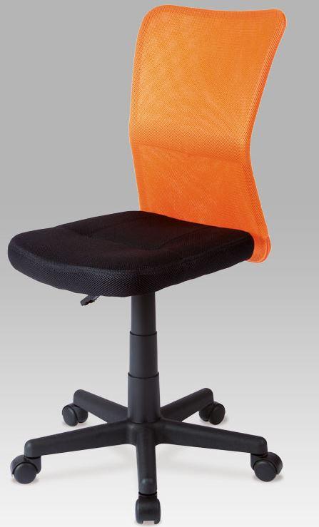 203dbc1bc1582 Detská kancelárska stolička KA-BORIS ORA operadlo čalúnené látkou MESH v  oranžové farbe, sedadlo čalúnené do čiernej látky Mesh.