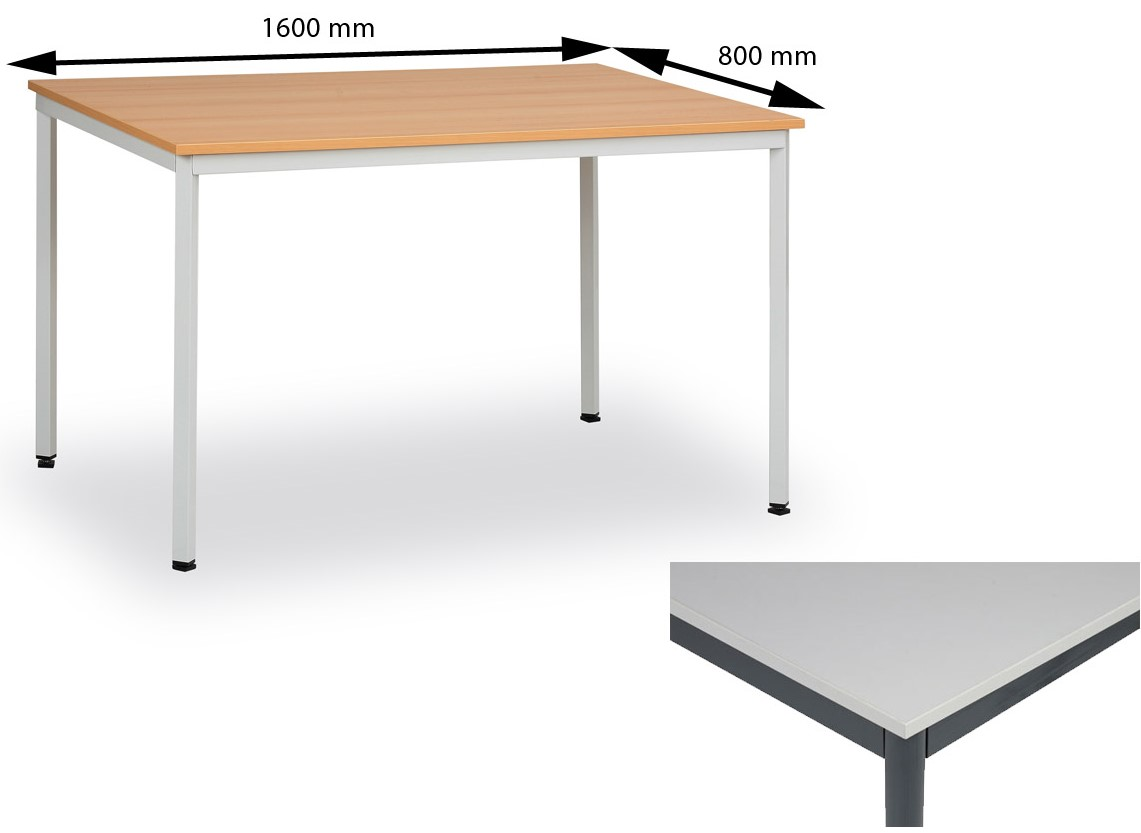11bd19f3e Jedálenský stôl 160 x 80 cm doska šedá - jedálenské stoly