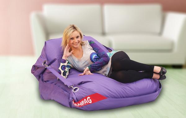 BEAN Sedací pytel 189x140 comfort s popruhy violet