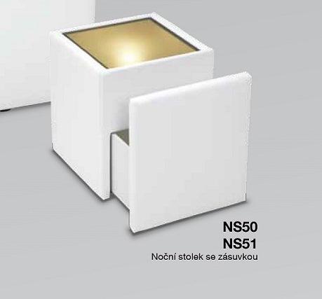 POLSTRIN noční stolík se sklem, zásuvka, světlo NS51
